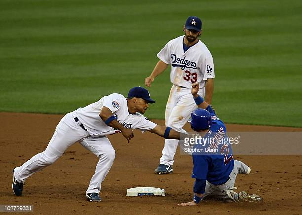Shortstop Rafael Furcal of the Los Angeles Dodgers tags out Ryan Theriot of the Chicago Cubs at second base after Theriot was picked off of first as...