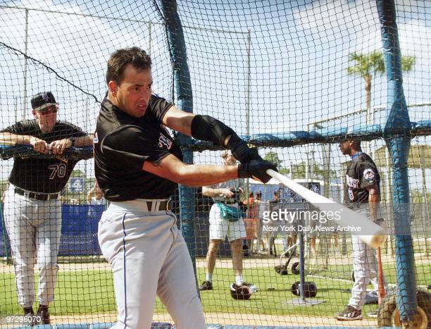 Shortstop Rey Ordonez takes some swings in the batting cage at the New York Mets' spring training camp in Port St Lucie Fla