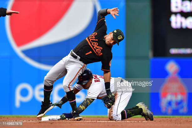 Shortstop Richie Martin of the Baltimore Orioles misses the tag as Jose Ramirez of the Cleveland Indians steals second during the second inning at...