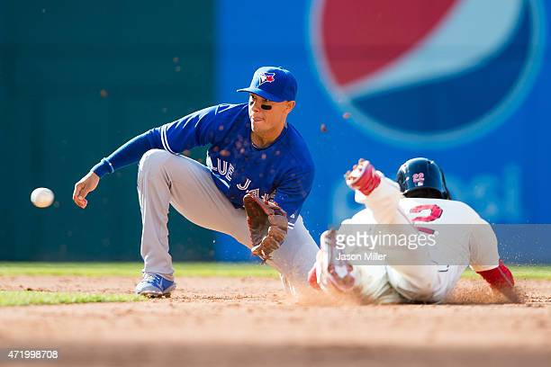 Shortstop Ryan Goins of the Toronto Blue Jays catches Jason Kipnis of the Cleveland Indians attempting to steel second during the fifth inning at...