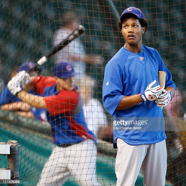 Shortstop Starlin Castro of the Chicago Cubs waits to enter the batting cage before their game against the Houston Astros at Minute Maid Park on...