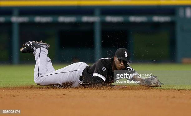 Shortstop Tim Anderson of the Chicago White Sox makes a diving stop on a grounder hit by Tyler Collins of the Detroit Tigers at Comerica Park on...