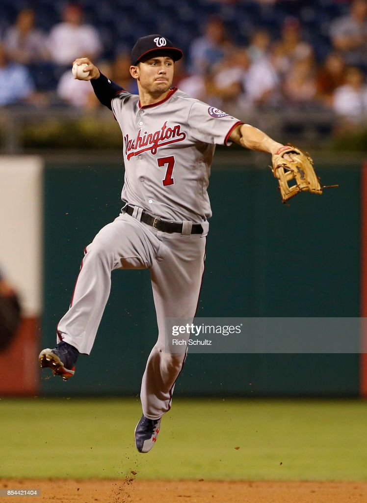 Shortstop Trea Turner #7 of the Washington Nationals throws out Cesar Hernandez #16 of the Philadelphia Phillies during the first inning of a game at Citizens Bank Park on September 26, 2017 in Philadelphia, Pennsylvania.