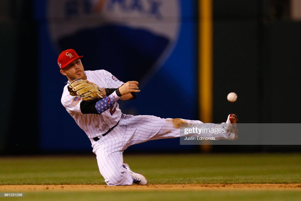 Shortstop Trevor Story #27 of the Colorado Rockies throws from a knee for the second out of the ninth inning against the San Francisco Giants at Coors Field on July 3, 2018 in Denver, Colorado.