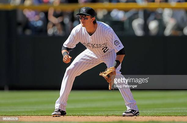 Shortstop Troy Tulowitzki of the Colorado Rockies plays defense against the San Diego Padres during MLB action on Opening Day at Coors Field on April...