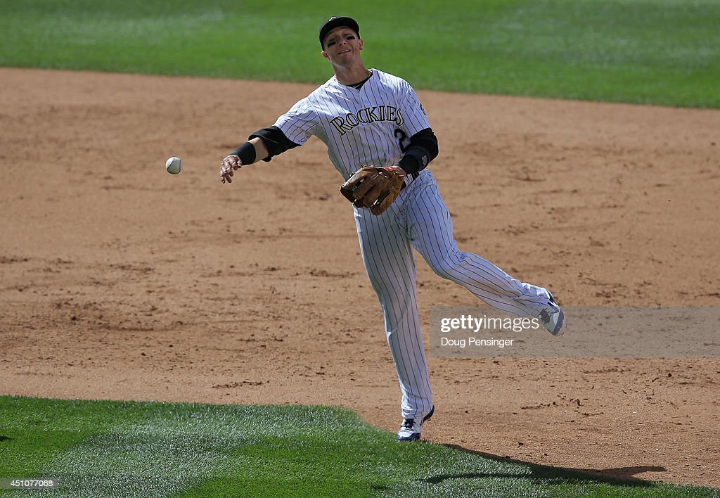 Shortstop Troy Tulowitzki #2 of the Colorado Rockies throws out a runner against the Milwaukee Brewers at Coors Field on June 22, 2014 in Denver, Colorado. The Brewers defeated the Rockies 6-5.
