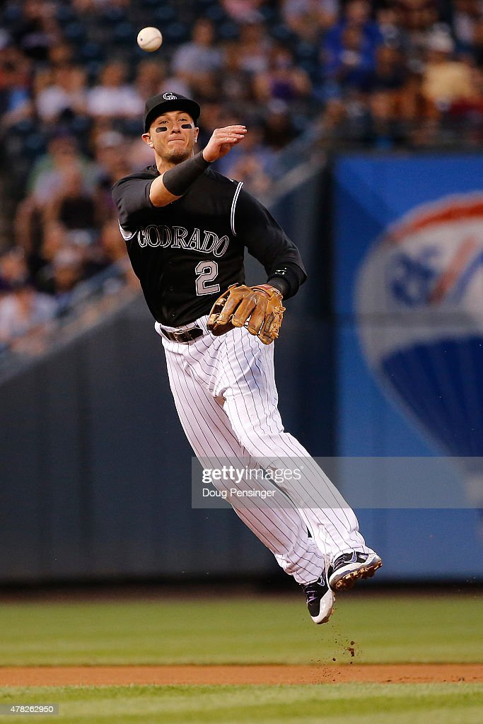 Shortstop Troy Tulowitzki #2 of the Colorado Rockies throws out a runner against the Arizona Diamondbacks at Coors Field on June 23, 2015 in Denver, Colorado. The Rockies defeated the Diamondbacks 10-5.