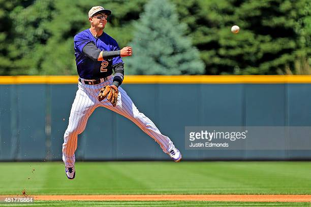 Shortstop Troy Tulowitzki of the Colorado Rockies throws to first base for the first out during the first inning against the Los Angeles Dodgers at...