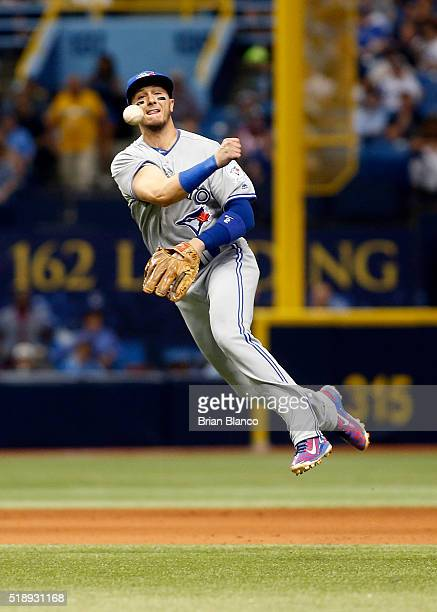 Shortstop Troy Tulowitzki of the Toronto Blue Jays fields the ground out by Desmond Jennings of the Tampa Bay Rays during the sixth inning of a game...