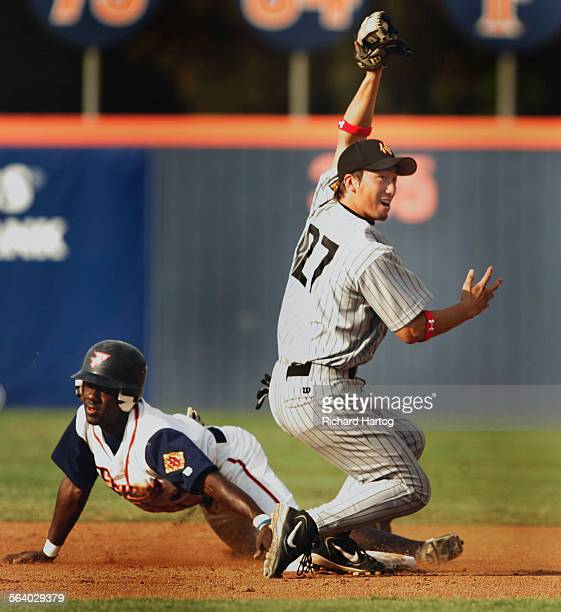 Shortstop Yasumichi Minami of the Japan Samurai Bears of the independent Golden League looks to the umpire but doesn't get the call as a Fullerton...