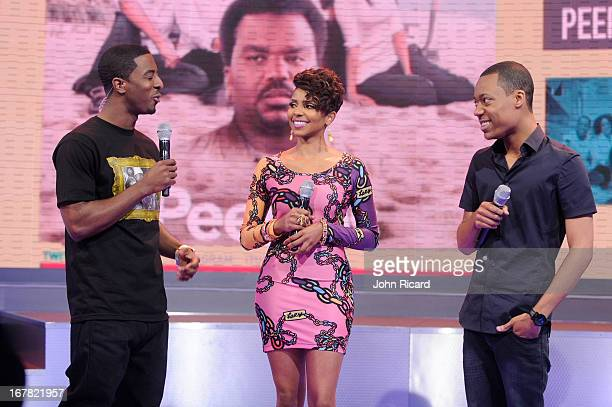 Shorty Da Prince Miss Mykie and Tyler James Williams visit BET's '106 Park' at BET Studios on April 29 2013 in New York City