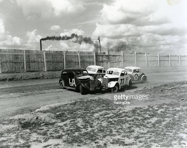 GREENSBORO NC Shorty York gets sideways in front of Ted Swain and others during a 1950s Modified race at the Greensboro Fairgrounds
