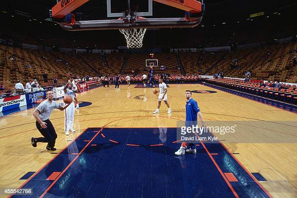 A shot before the game between the Indiana Pacers and the Cleveland Cavaliers circa 1993 at the Richfield Coliseum in Richfield Ohio NOTE TO USER...