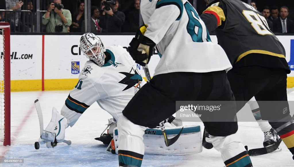 A shot by Alex Tuch #89 of the Vegas Golden Knights gets by Martin Jones #31 of the San Jose Sharks for a goal in the second period of Game Five of the Western Conference Second Round during the 2018 NHL Stanley Cup Playoffs at T-Mobile Arena on May 4, 2018 in Las Vegas, Nevada. The Golden Knights won 5-3.