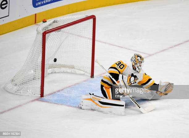A shot by Jon Merrill of the Vegas Golden Knights gets by Matt Murray of the Pittsburgh Penguins for a goal in the third period of their game at...