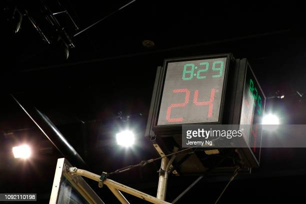 A shot clock is seen as it had technical issues during the round 13 NBL match between the Illawarra Hawks and the Adelaide 36ers at Wollongong...