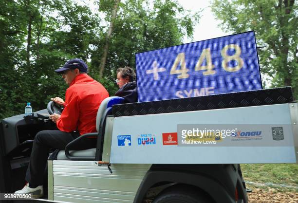 A 'shot clock' is transported on a buggy during day one of the 2018 Shot Clock Masters at Diamond Country Club on June 7 2018 in Atzenbrugg Austria