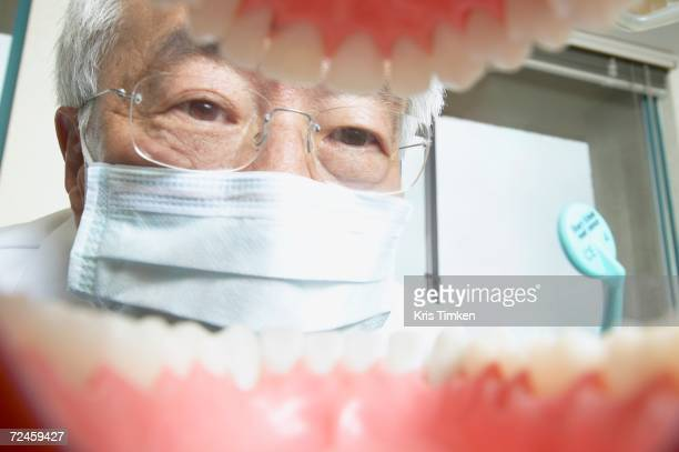 shot from mouth looking out at senior asian male dentist - funny surgical masks stock pictures, royalty-free photos & images