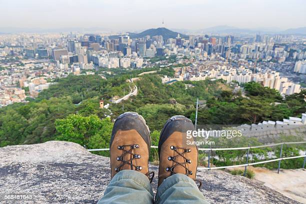 pov shot from mt.inwangsan - sungjin kim stock pictures, royalty-free photos & images