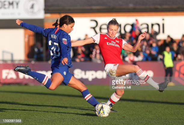 A shot from Sam Kerr of Chelsea is blocked by Leah Williamson of Arsenal during the Barclays FA Women's Super League match between Arsenal and...