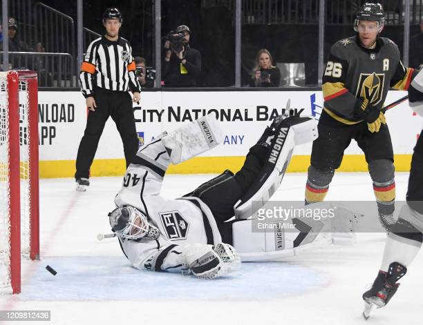 A shot from Shea Theodore of the Vegas Golden Knights gets past Calvin Petersen of the Los Angeles Kings for a secondperiod powerplay goal as Paul...