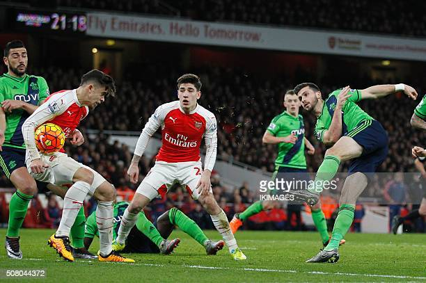 A shot from Southampton's Irish striker Shane Long strikes Arsenal's Brazilian defender Gabriel leading to an appeal for handball in the box during...