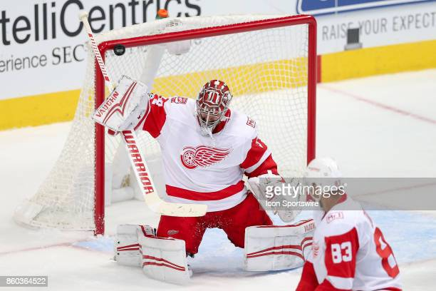 Shot gets past Detroit Red Wings Goalie Petr Mrazek during the NHL game between the Detroit Red Wings and Dallas Stars on October 10, 2017 at the...
