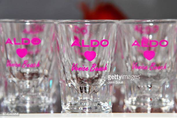 Shot glasses on display at the Aldo LA Nights 2018 at The Rose Room on June 13 2018 in Venice California