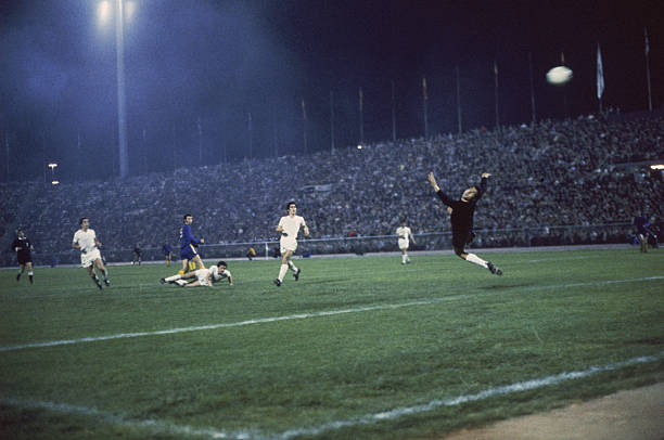 Shot goes over the Real Madrid goalkeeper during the 1970-71 UEFA Cup Winners' Cup Final replay against Chelsea FC at Karaiskakis Stadium, Piraeus,...