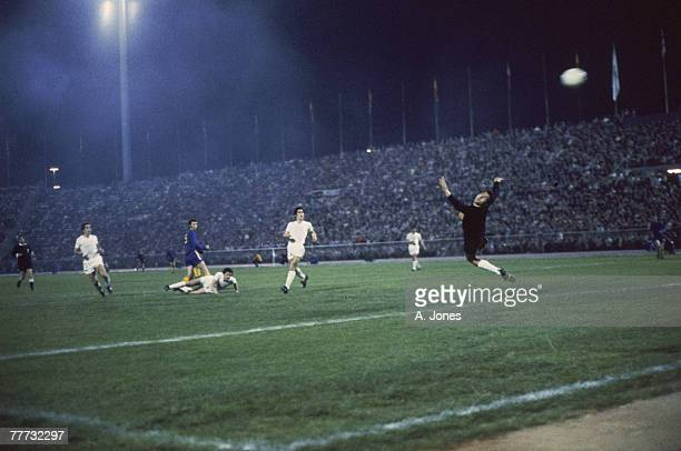 A shot goes over the Real Madrid goalkeeper during the 197071 UEFA Cup Winners' Cup Final replay against Chelsea FC at Karaiskakis Stadium Piraeus...