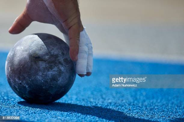 A shot lies on the track during the men's shotput qualification during day 1 of European Athletics U23 Championships 2017 at Zawisza Stadium on July...