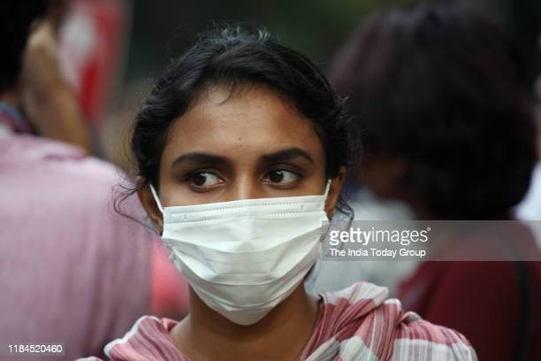 Shot of a girl wearing anti pollution mask as many areas in the Delhi-National Capital Region recorded air quality in the very poor pollutant in New...