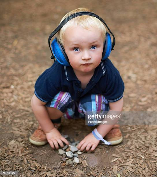 keeping himself busy in nature - hearing protection stock pictures, royalty-free photos & images