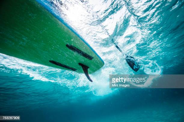 A shot of a paddleboard taken underwater.