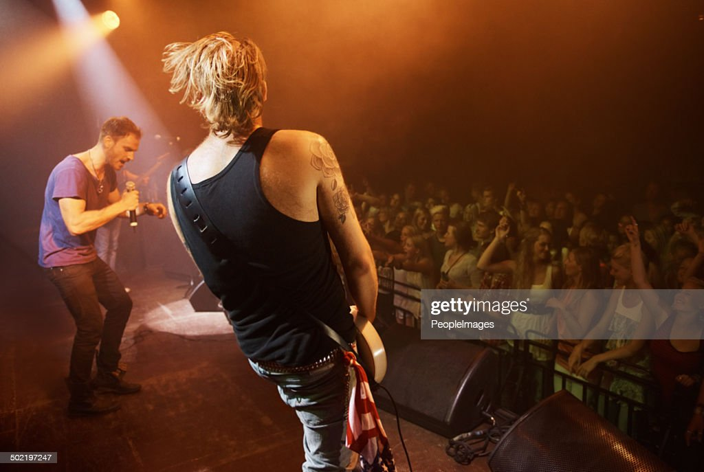Time to rock out with a solo... : Stock Photo