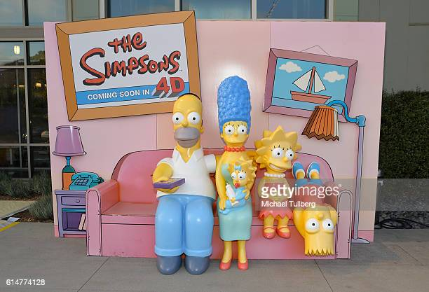 Shot of a statue of Homer Simpson Marge Simpson Maggie Simpson Lisa Simpson and Bart Simpson at a celebration of the 600th Episode of The Simpsons at...