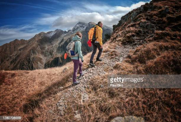 shot of a young couple out mountain climbing together, serbota peak, fagaras mountains, romania - romania stock pictures, royalty-free photos & images