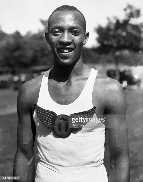 A shot of American athlete Jesse Owens