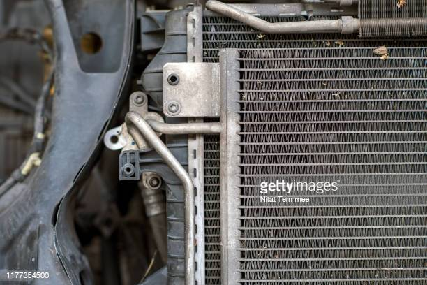 shot of car radiator in garage auto car service. - vehicle grille stock pictures, royalty-free photos & images