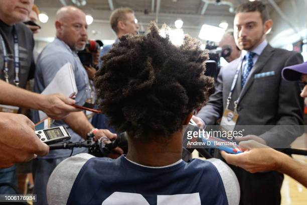 A shot of DeMar DeRozan's hair as he talks to the media after USAB Minicamp Practice at Mendenhall Center on the University of Nevada Las Vegas...