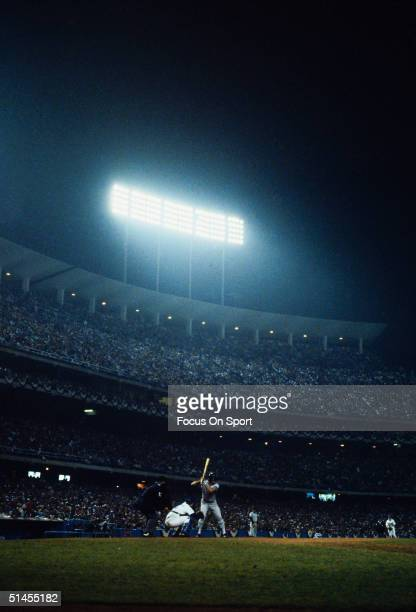 Shot of Dodger Stadium sheds light on the sheer size of the stadium and the feel of the night during the World Series featuring the New York Yankees...