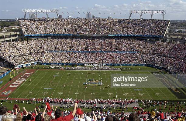 A shot of Florida Citrus Bowl Stadium for the Capital One Bowl game between the Georgia Bulldogs and the Purdue Boilermakers on January 1 2004 in...