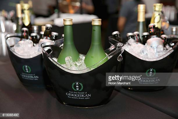 A shot of Gekkeikan sake at Lucky Chopsticks An Asian Night Market hosted by Andrew Zimmern at Metropolitan West on October 16 2016 in New York City