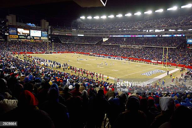 A shot of Gillette Stadium during the game between the New England Patriots and the Tennessee Titans in the AFC divisional playoffs on January 10...