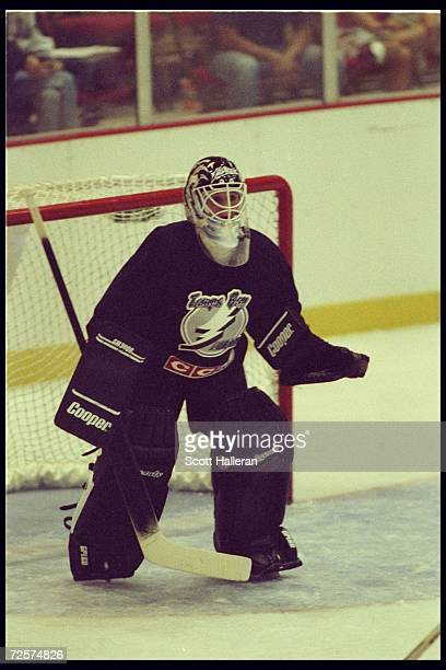 A shot of goaltender Manon Rheaume of the Tampa Bay Lightning