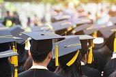 shot of graduation hats during commencement success graduates of the university, Concept education congratulation. Graduation Ceremony ,Congratulated the graduates in University.