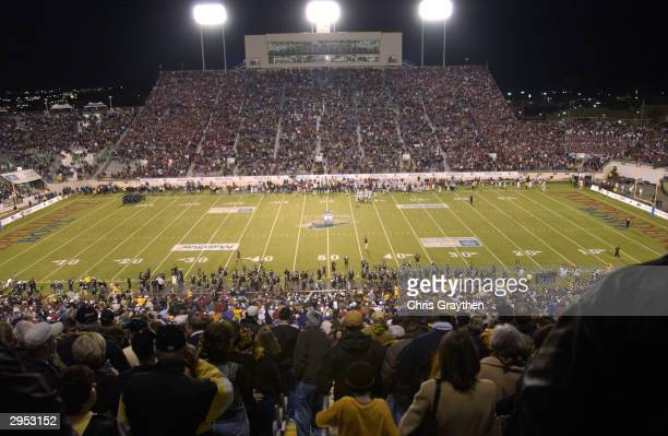 A shot of Independence Stadium during the game between the Arkansas Razorbacks and the Missouri Tigers on December 31 2003 in Shreveport Louisiana...