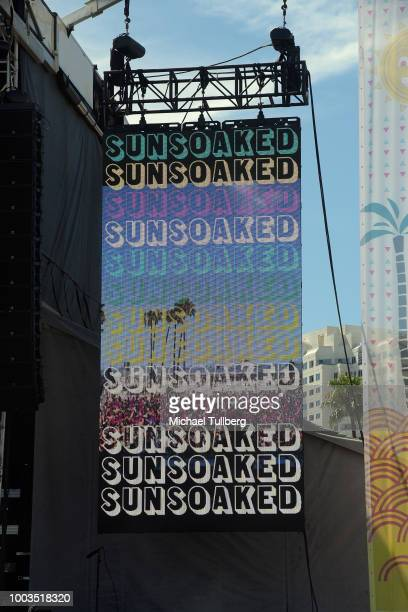 Shot of Kaskade banner at the second annual Sun Soaked Outdoor Beach Party on July 21 2018 in Long Beach California