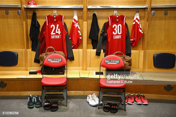 A shot of Kobe Bryant and Stephen Curry of the Western Conference's lockers before the NBA AllStar Game as part of 2016 NBA AllStar Weekend on...