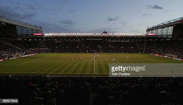A shot of Old Trafford as the teams of Manchester United and Bolton Wanderers prepare to kick off the second half of the Barclays Premiership match...